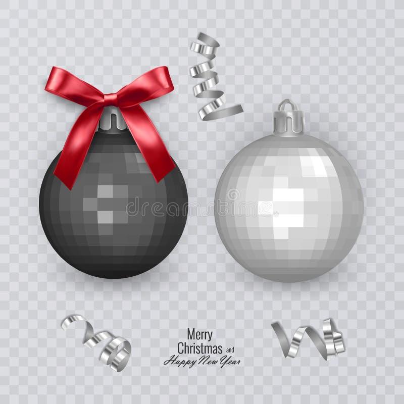 Boules noires et blanches réalistes de Noël avec l'arc rouge sur le fond transparent, décorations de Noël, illustration de vecteu illustration libre de droits