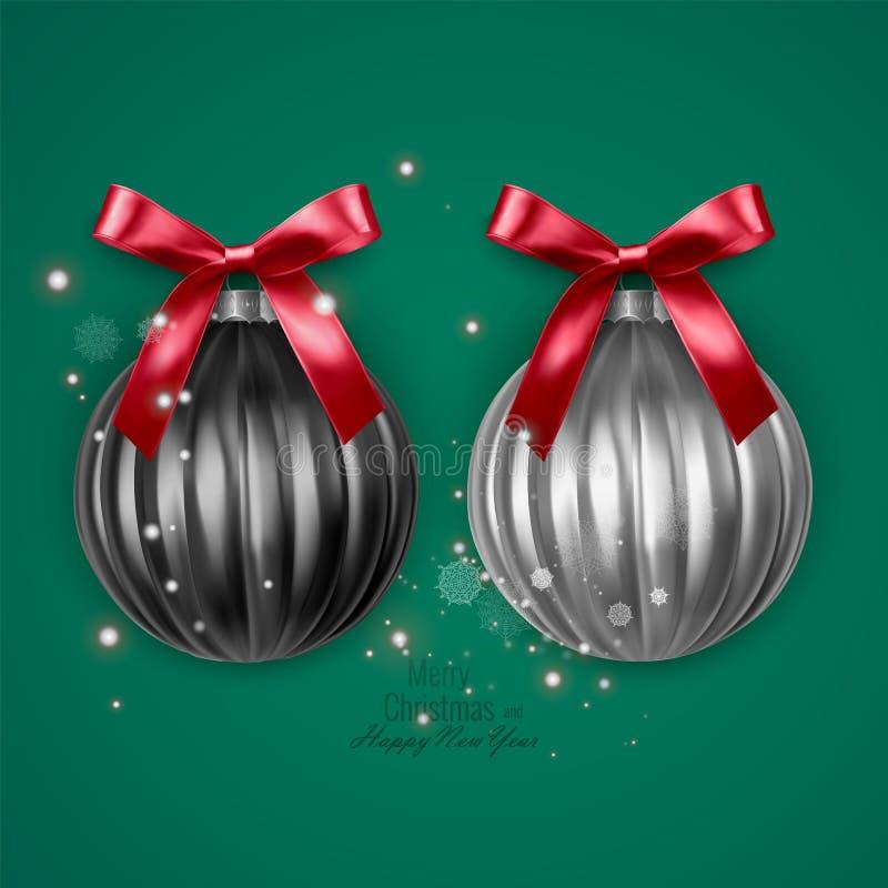 Boules noires et blanches réalistes de Noël avec l'arc rouge sur le fond vert, décorations de Noël de vecteur illustration de vecteur
