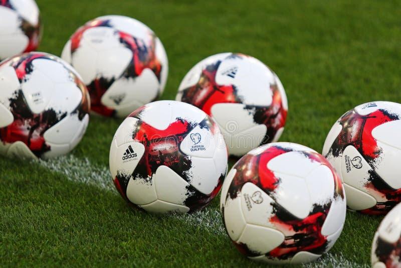 Boules officielles de match de la coupe du monde de la FIFA 2018 photos libres de droits