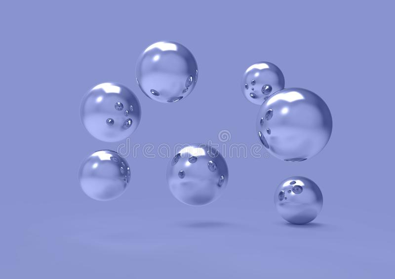 Boules r?alistes de chrome dispers?es dans l'image 3D futuriste de l'espace illustration stock