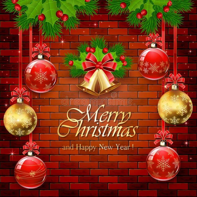 Boules rouges et d'or de Noël sur un mur de briques illustration de vecteur