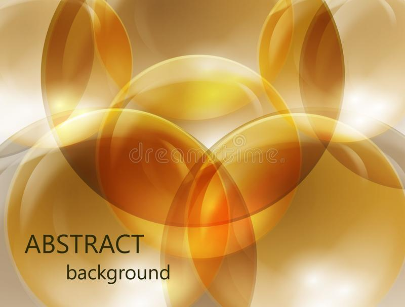 Boules transparentes abstraites sur un or et un fond brun illustration stock