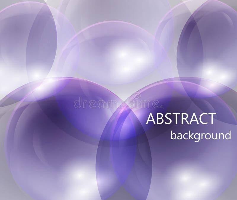 Boules transparentes abstraites sur un fond bleu illustration stock