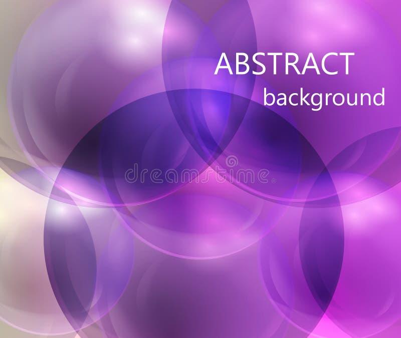 Boules transparentes abstraites sur un fond pourpre et rose illustration stock