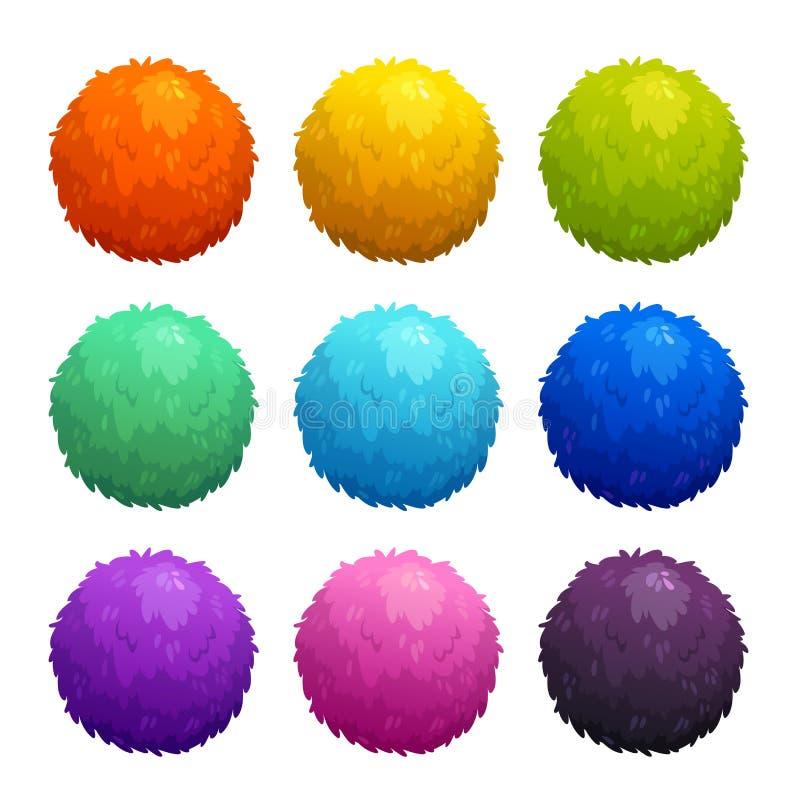 Boules velues de bande dessinée colorée illustration de vecteur