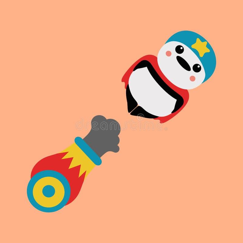 Boulet de canon de panda illustration de vecteur