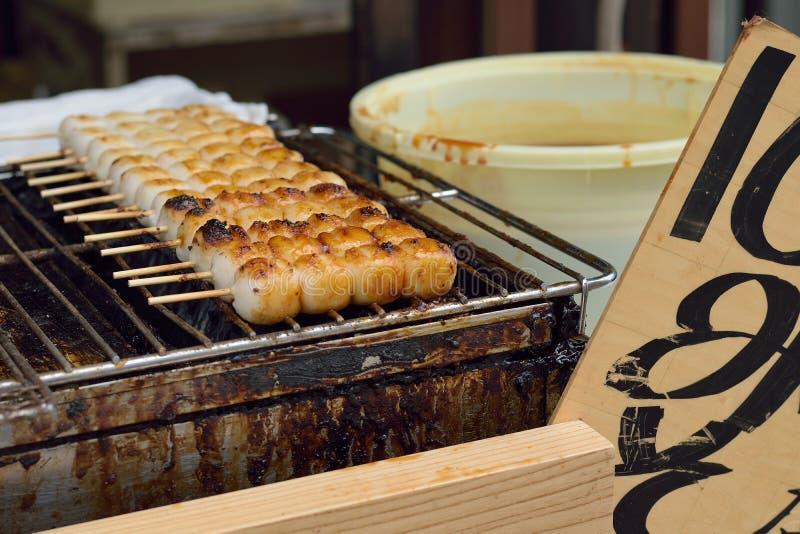 Boulette japonaise de riz de Dango de nourriture de rue image libre de droits