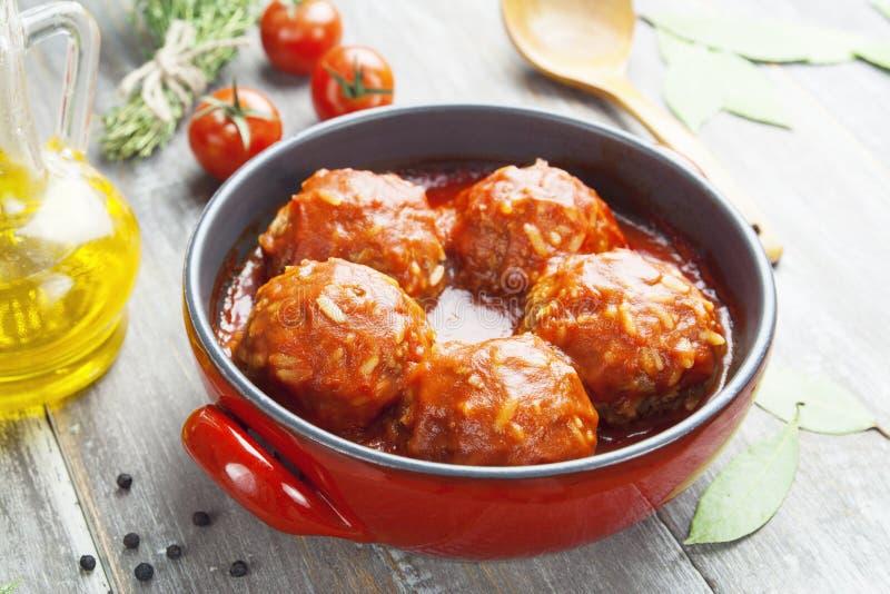 Boulettes de viande avec du riz photos libres de droits