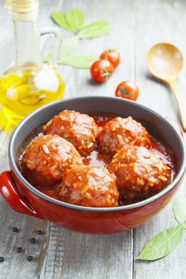 Boulettes de viande avec du riz photos stock
