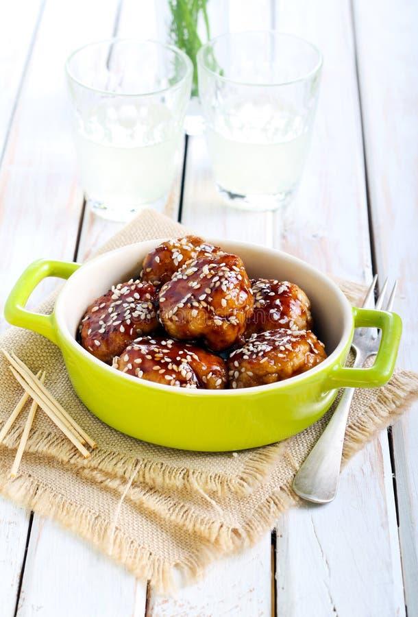 Boulettes de viande de poulet de Teriyaki photos stock
