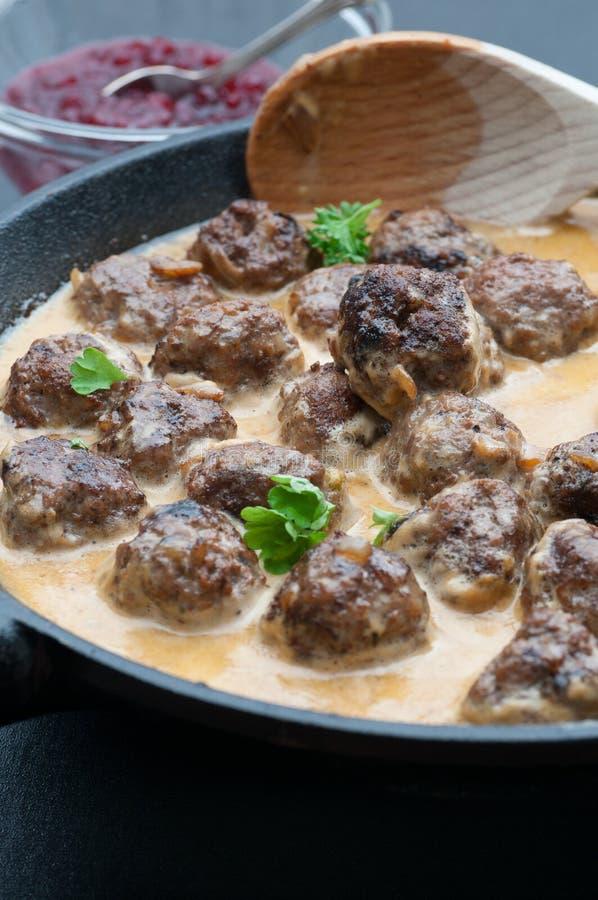 Boulettes de viande suédoises image stock