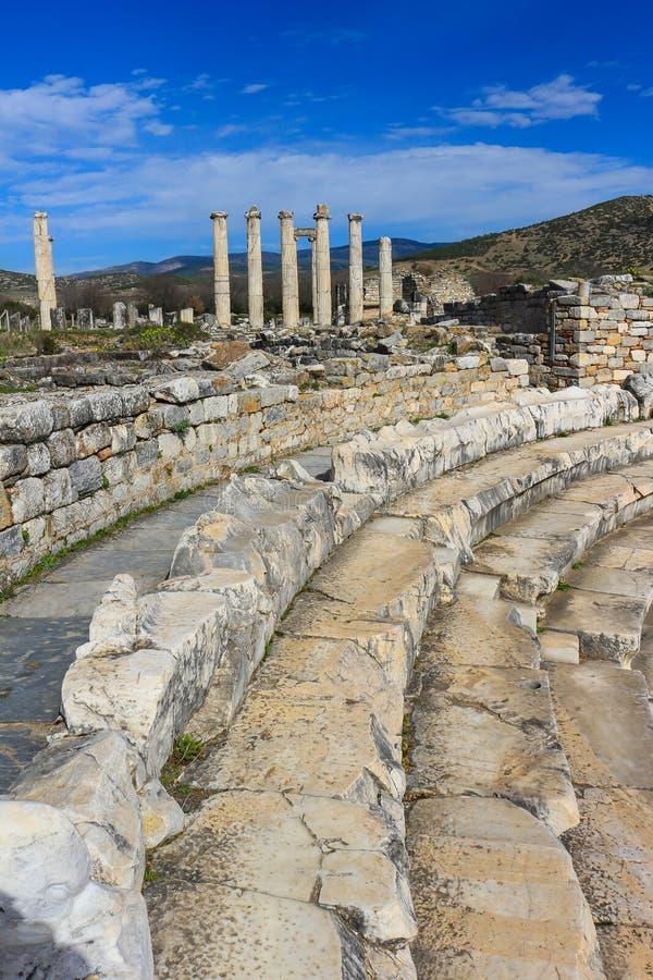 Bouleuterion ajacent od Aphrodite świątyni ruin w Aphrodisia zdjęcie royalty free