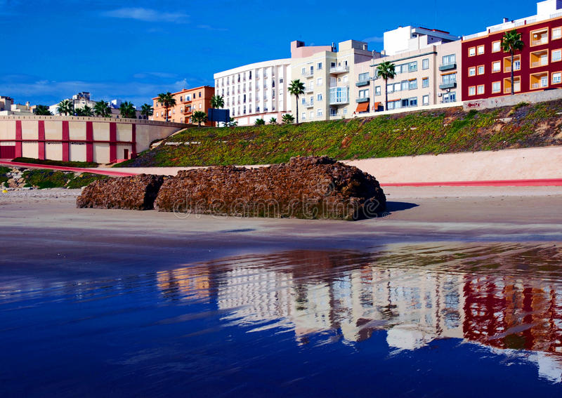 Boulevard and beach in Cadiz stock photo