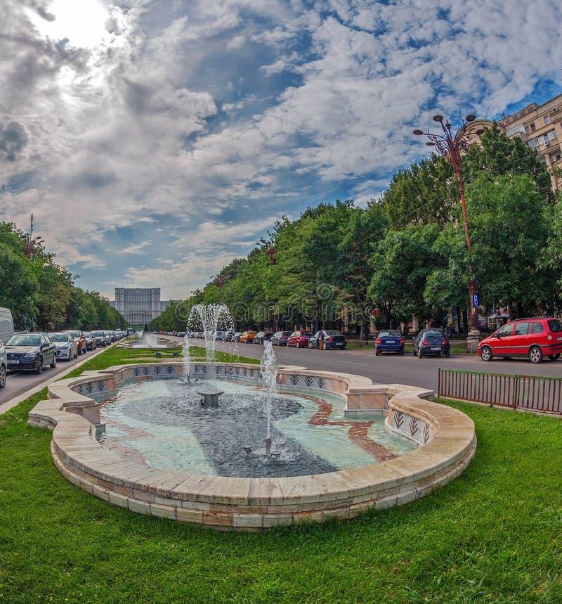 Boulevard del sindacato, Bucarest, Romania immagine stock libera da diritti