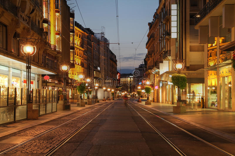 Boulevard in Geneva, Switzerland stock image