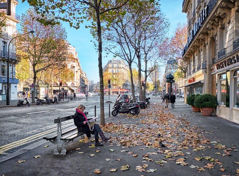 Boulevard Haussmann, Parijs, Frankrijk royalty-vrije stock afbeeldingen