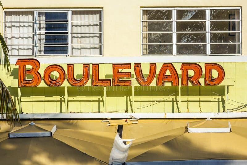 Boulevard Hotel at Ocean Drive royalty free stock photos