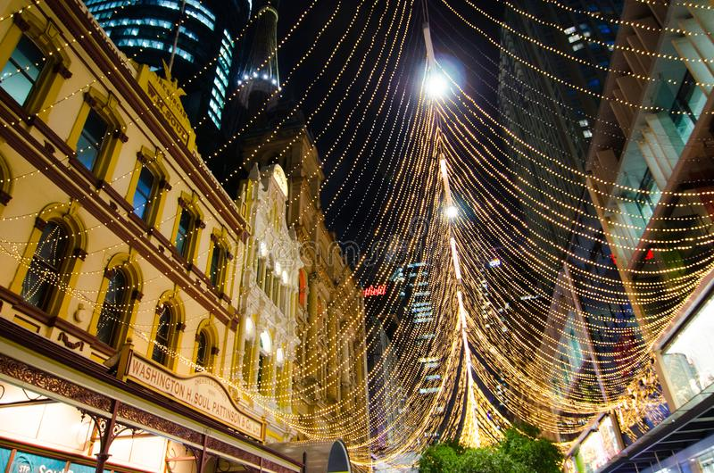 `Boulevard of light` This is Christmas sparkle light forest installation at Pitt St Mall, Sydney Downtown. SYDNEY, AUSTRALIA. – On November 28, 2017. - ` royalty free stock image