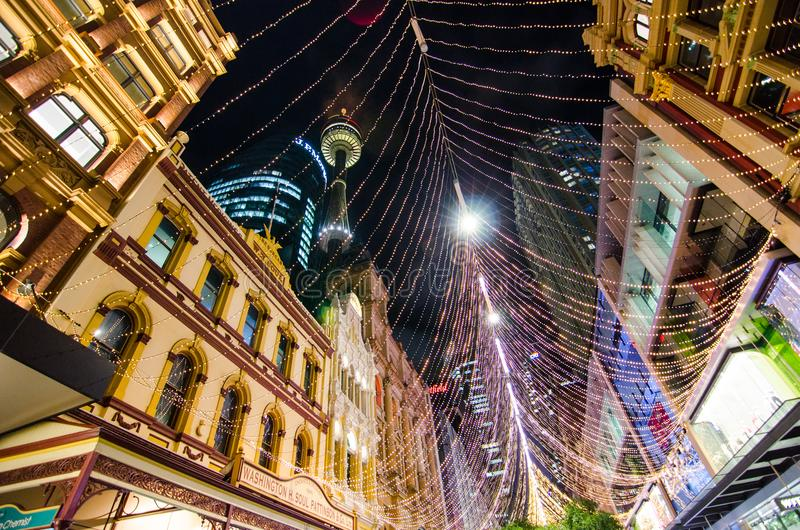 `Boulevard of light` This is Christmas sparkle light forest installation at Pitt St Mall, Sydney Downtown. SYDNEY, AUSTRALIA. – On November 28, 2017. - ` stock image