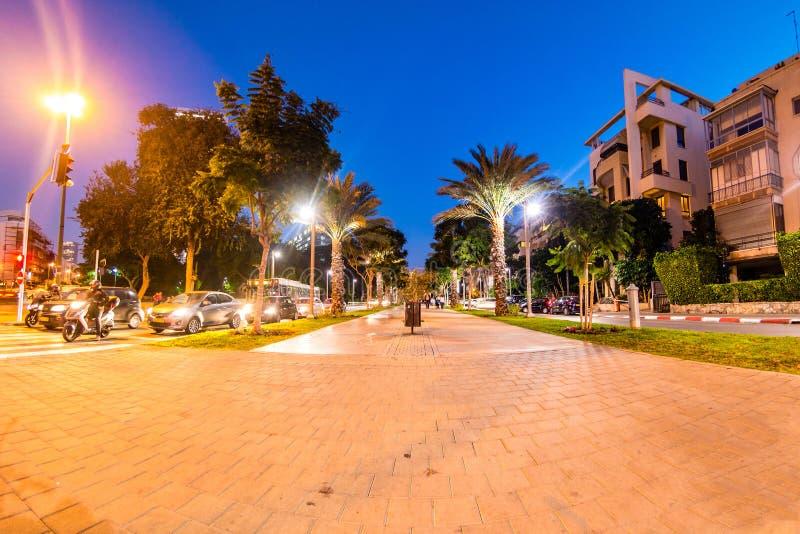 Boulevard Rothschild illuminated in the evening. Boulevard Rothschild illuminated in the evening, Tel Aviv, Israel stock image
