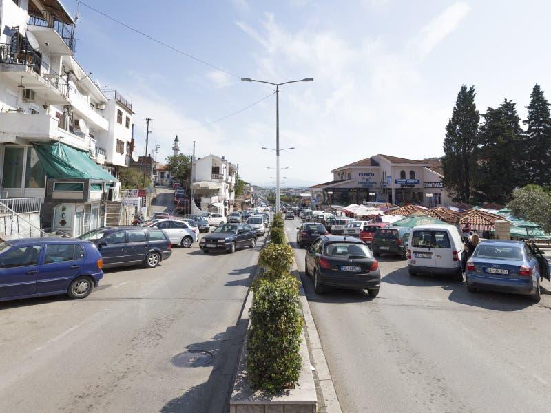 Boulevard in Ulcinj in Montenegro stock afbeeldingen