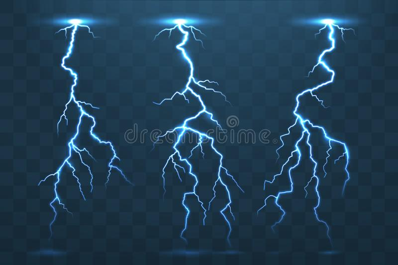 Boulon de tonnerre et foudres, éclair de l'électricité d'orage Ele illustration de vecteur