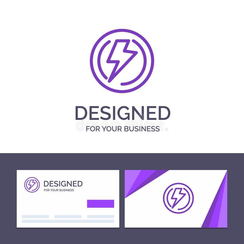 Boulon de visite de calibre créatif de carte de visite professionnelle et de logo, lumière, tension, industrie, illustration de v illustration stock