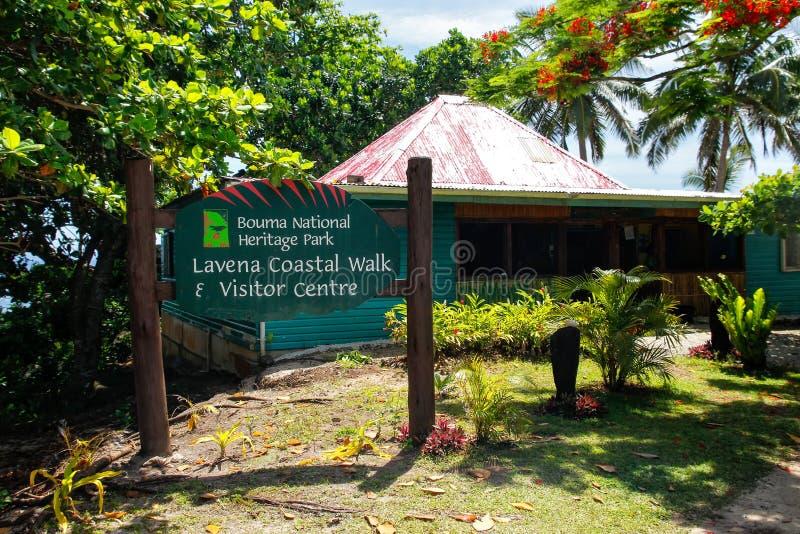 Bouma National Heritage Park visitor center in Lavena village on. Taveuni Island, Fiji. Taveuni is the third largest island in Fiji royalty free stock photos