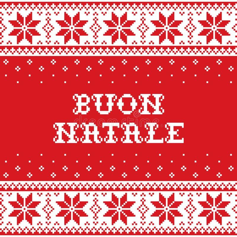 Boun Natale Skandynawski knnitting, krzyż - Wesoło boże narodzenia w Włoskim tradycyjnym bezszwowym wektoru wzorze, kartka z pozd ilustracja wektor