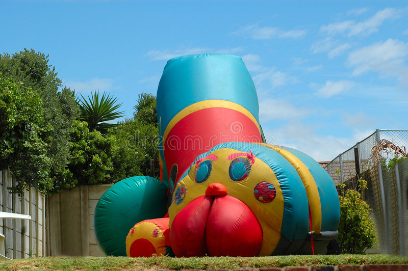 Bouncing castle for jumping kids royalty free stock photography
