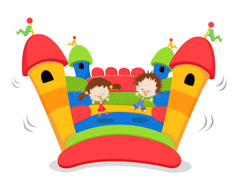 Bouncy Castle. Children jumping on bouncy castle