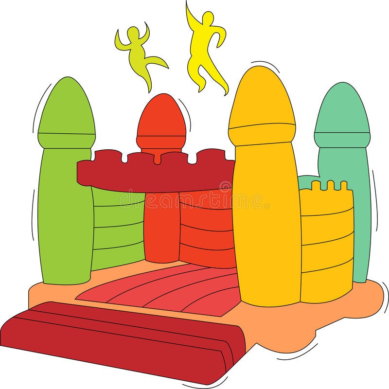 Bouncy castle. Illustration of kids jumping, having fun on bouncy castle royalty free illustration