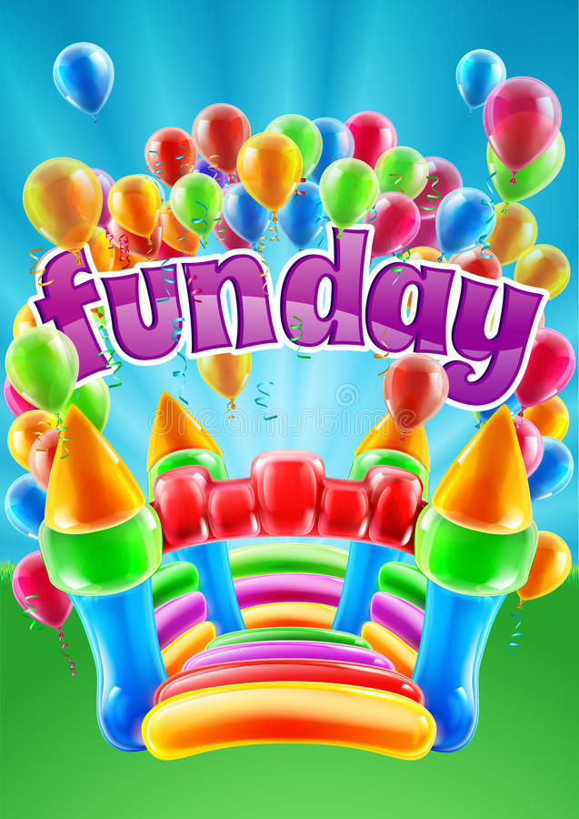 Bouncy Castle Funday Design. A bouncy castle and balloons funday event invite poster background design stock illustration