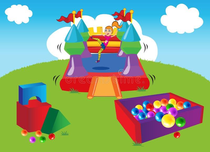 Bouncy Castle. In the garden vector illustration