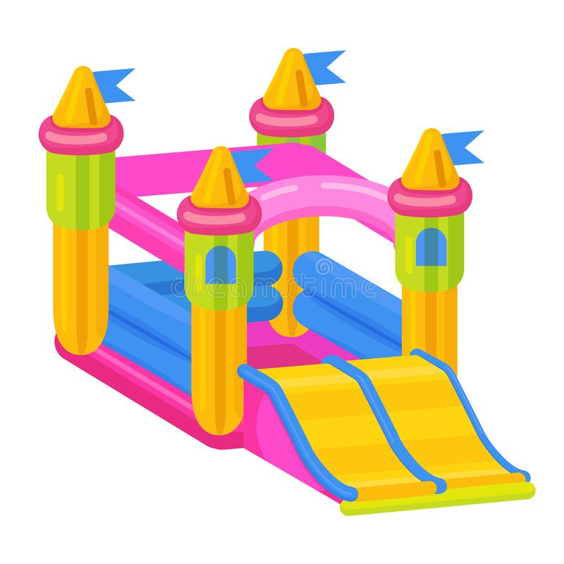 Bouncy castle icon, jumping toy for leisure activity. Vector flat style cartoon illustration isolated on white background royalty free illustration