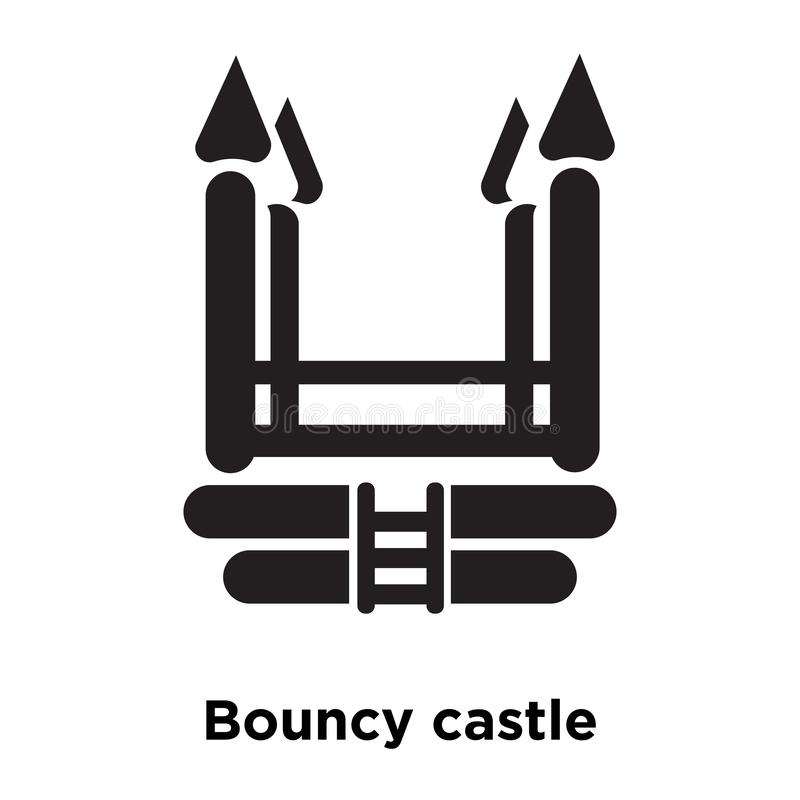 Bouncy castle icon vector isolated on white background, logo con. Cept of Bouncy castle sign on transparent background, filled black symbol royalty free illustration