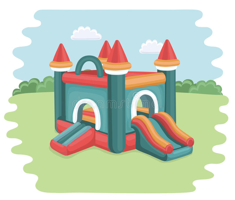 Bouncy castle in park. Vector cartoon illustration of bouncy castle on playground. inflatable games for childrens in the park stock illustration