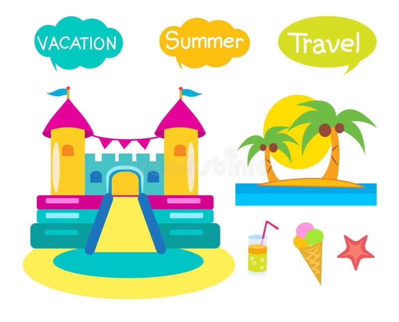 Bouncy Castle Set. Cartoon Illustrations On A White Background. Bouncy Castle Rental. Bouncy Castle For Sale. Bouncy Castle Commercial. Bouncy Castle For Kids stock illustration