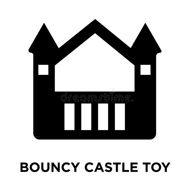 Bouncy castle toy icon vector isolated on white background, logo. Concept of Bouncy castle toy sign on transparent background, filled black symbol stock illustration