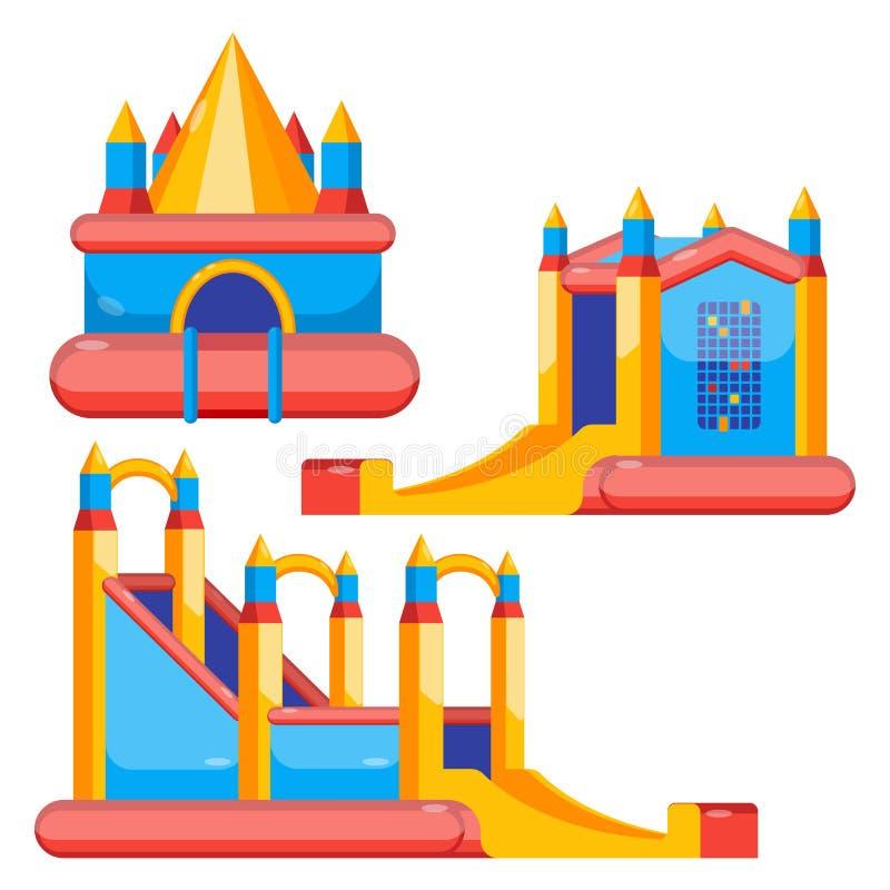 Bouncy castles for kids colorful set isolated on white. Bouncy castles for children amusement colorful collection isolated on white. Vector poster of childish vector illustration