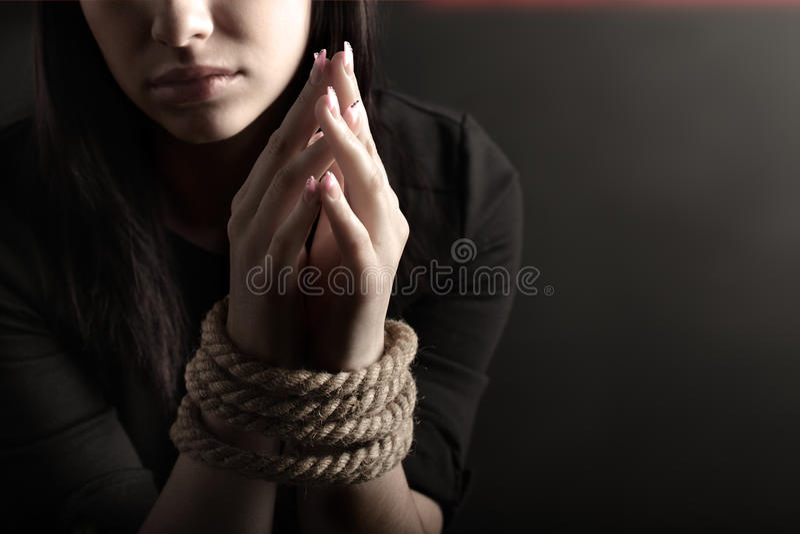 Bound hands stock photo