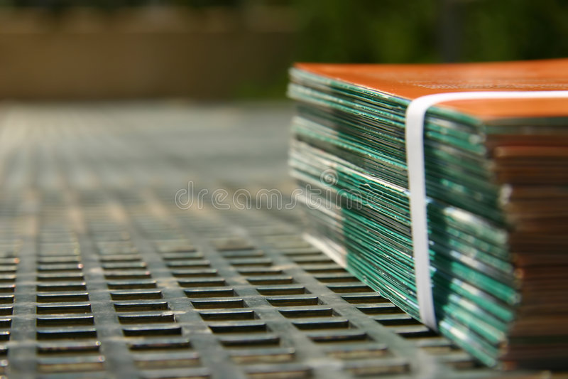 Bound leaflets at a printer. Bound leaflets ready for delivery at a printer royalty free stock photography