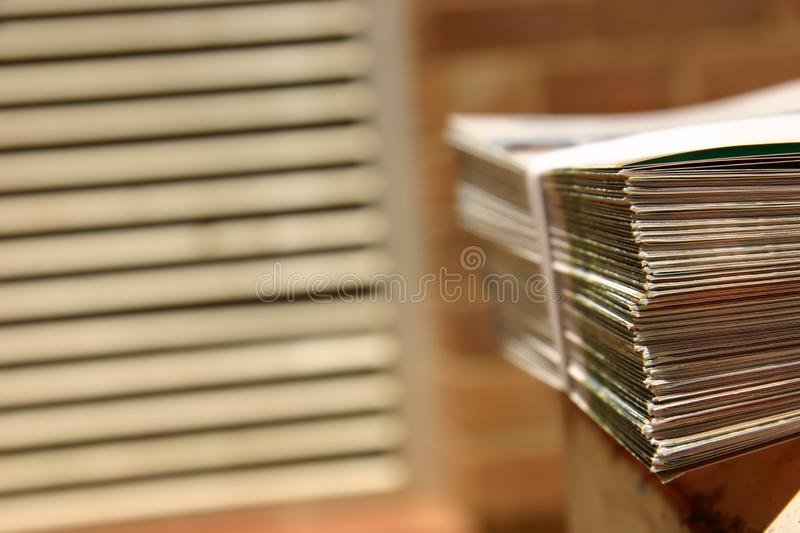 Bound leaflets at a printer royalty free stock photos