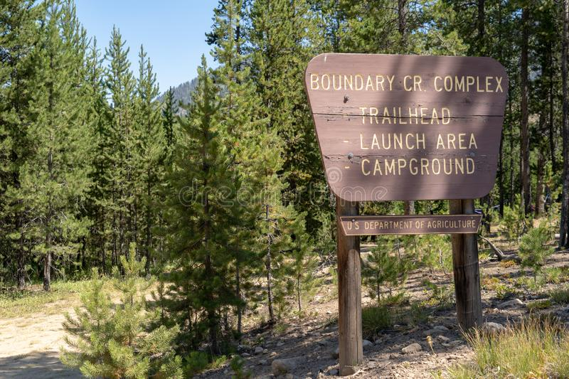 Boundary Creek complex - trailhead, launch area and campground area of Idaho, a popular spot for starting a rafting trip in the. Boundary Creek complex stock image