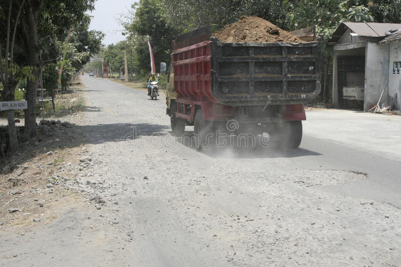 The boundary district. City road infrastructure leprosy in Sukoharjo often damaged because of impassable trucks haul exceed the limit stock photo