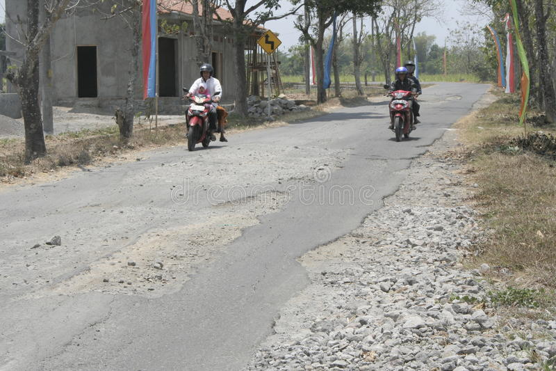 The boundary district. City road infrastructure leprosy in Sukoharjo often damaged because of impassable trucks haul exceed the limit royalty free stock image
