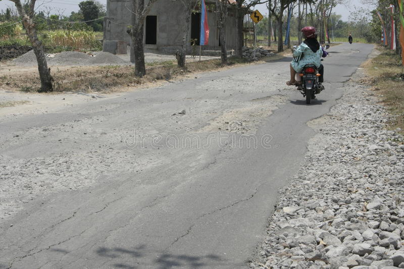 The boundary district. City road infrastructure leprosy in Sukoharjo often damaged because of impassable trucks haul exceed the limit royalty free stock photos