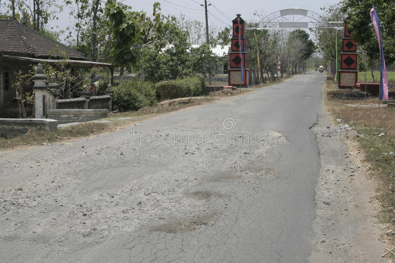 The boundary district. City road infrastructure leprosy in Sukoharjo often damaged because of impassable trucks haul exceed the limit stock photos