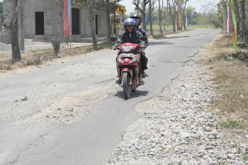 The boundary district. City road infrastructure leprosy in Sukoharjo often damaged because of impassable trucks haul exceed the limit royalty free stock images