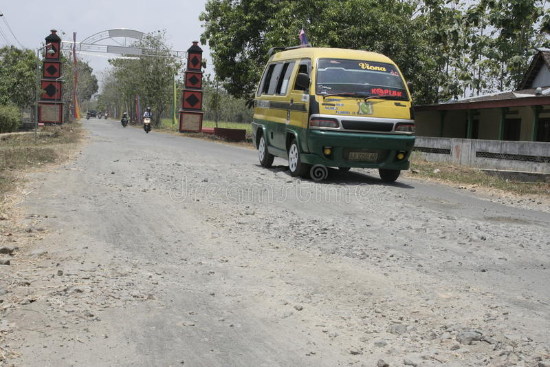 The boundary district. City road infrastructure leprosy in Sukoharjo often damaged because of impassable trucks haul exceed the limit stock photography